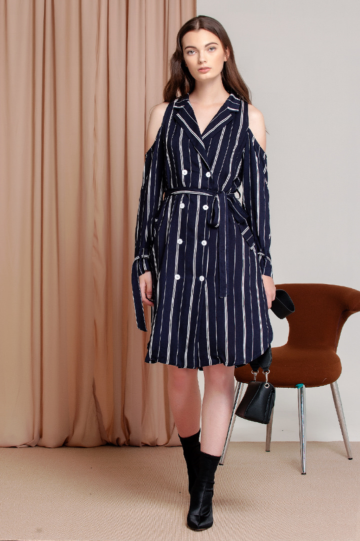 Navy Blue Stripes Helico Dress